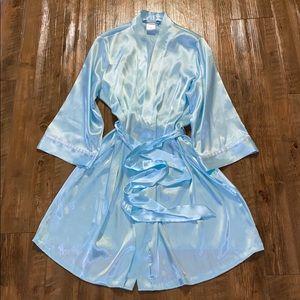 Beautiful satiny baby blue bridesmaid robe